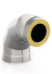 Сэндвич-отвод 90 градусов диаметр 130/200 1 мм/0.5 мм нержавейка/оцинковка, дымоход