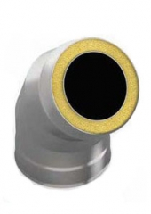 Сэндвич-отвод 135 градусов диаметр 115/200 0.5 мм/0.5 мм мм нержавейка, дымоход