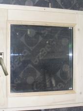 Деревянные окна для бани со стеклопакетом