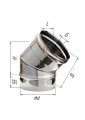 Отвод 135* нерж (430/0.8 мм) ф200