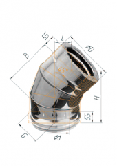 Сэндвич-колено 45° нерж (430/0.8мм)/оц ф120х200