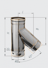 Тройник 135* нерж (430/0.8 мм) ф120
