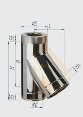 Сэндвич-тройник 135° нерж (430/0.8мм)/оц ф120х200