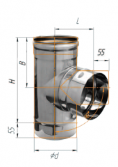 Тройник 90* нерж (430/0.5 мм) ф120